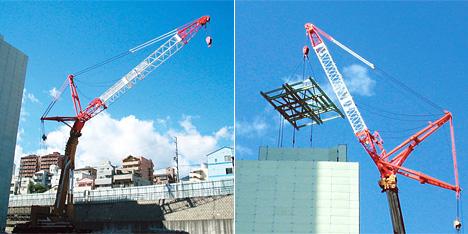 ワイヤーソー切断によるビル吊降ろし工法