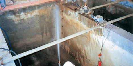 排水設備ピットサンドブラスト洗浄